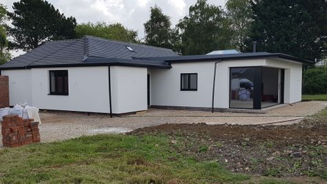 Silicone Render of a bungalow near Melton Mowbray Leicestershire